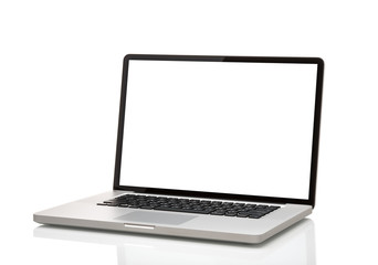 laptop with blank screen. Isolated on white