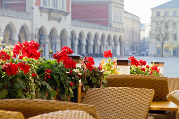 Town market cafe in Cracow