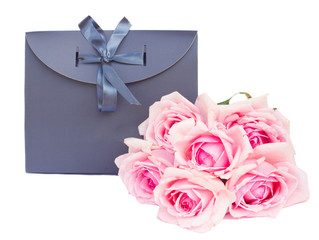 gray  gift bag with roses