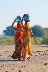 Women carrying water in Rajasthan, India