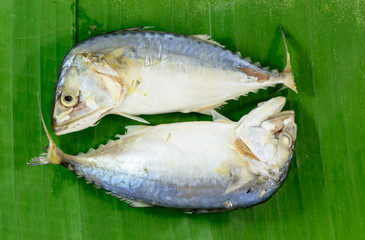 Mackerel steamed on banana leaf