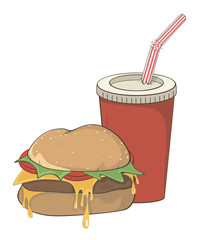 Cartoon fast food hamburger and a drink