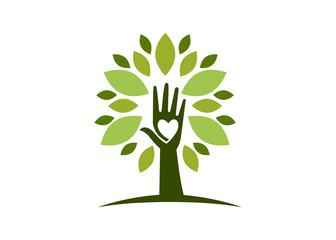 Natural healthy heart hand tree logo