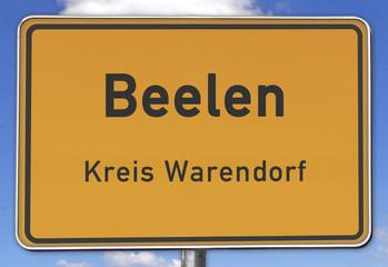 Ortsschild Beelen Kreis Warendorf