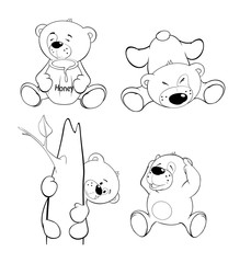 A set of bears. Coloring book