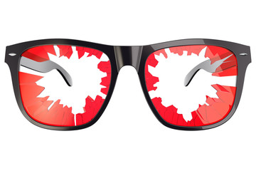 Broken tinted glasses on white background