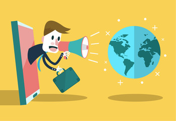 Businessman use loudspeaker talk to the world. flat vector