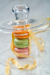Macaroons under glass bell