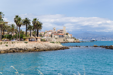 Antibes, France. Seascape with old fortress