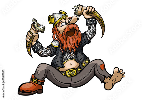 Viking Drinks from the Drinking Horns - 68018089