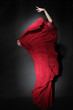 Flamenco dancer in red dress. Woman dancing in long flying dress