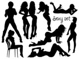 Sexy black-white girls silhouettes set
