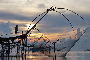 landscape of square dip net at sunrise