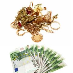 Altgold und Euroscheine