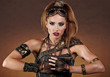 Steampunk woman over gunge background. . Fantasy fashion for cov