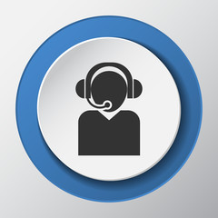 Call center paper icon with shadow
