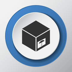delivery box paper icon with shadow