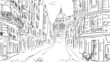 Leinwandbild Motiv Street in paris -sketch  illustration