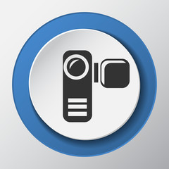 video camera paper icon with shadow