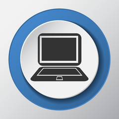laptop computer paper icon with shadow