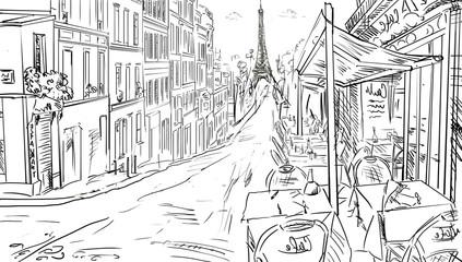 Street in paris -sketch illustration