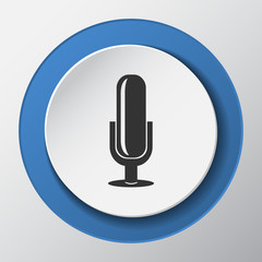 Microphone paper icon with shadow