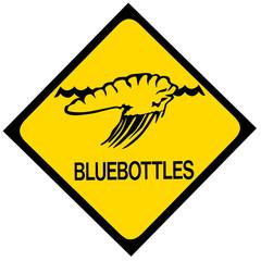 Blue bottle jellyfish warning sign