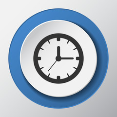 time, clock paper icon with shadow