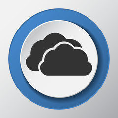 clouds paper icon with shadow