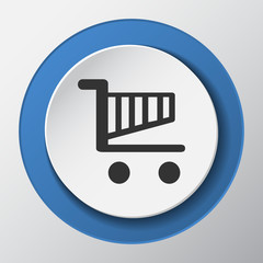 shopping cart paper icon with shadow