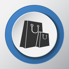 shopping bag paper icon with shadow