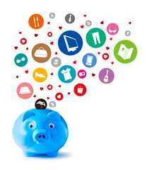 Blue piggy bank and shopping icons on white background