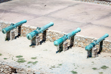 Old cannon in the port of Saint-Tropez in France