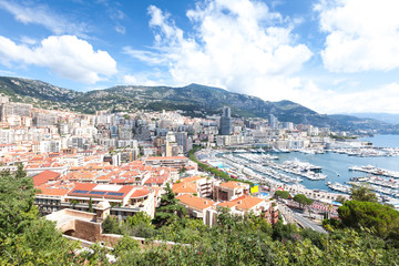Panoramic view of the coastal area of ​​Monaco