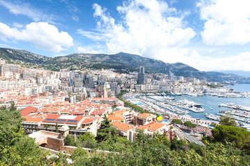 Panoramic view of the coastal area of Monaco