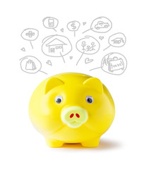 Yellow piggy bank and icon design