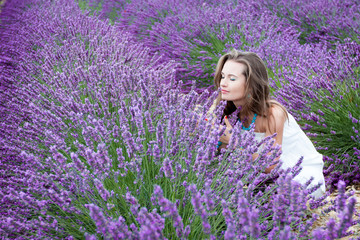 Beautiful girl in a lavender