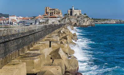 Breakwater Castro Urdiales and cathedral