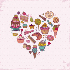 Colorful Background - with Cakes, Sweets and Desserts