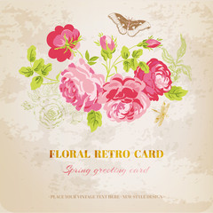 Floral Shabby Chic Card - vintage design - in vector