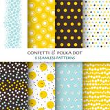 Fototapety 8 Seamless Patterns - Confetti and Polka Dot - texture