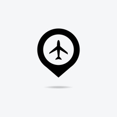 Map marker with icon of airplane