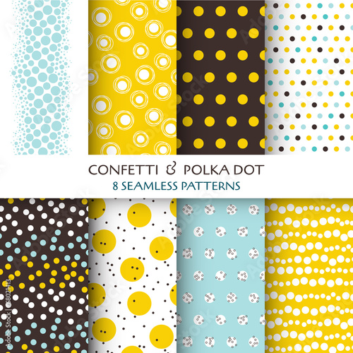 8 Seamless Patterns - Confetti and Polka Dot - texture