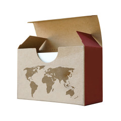 Cardboard box with map world isolated on white background