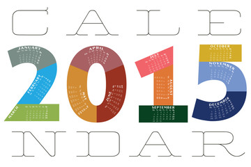 Calendar for 2015 on White