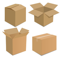 Collection recycle brown box packaging. vector illustration