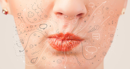 Pretty woman mouth blowing hand drawn icons and symbols