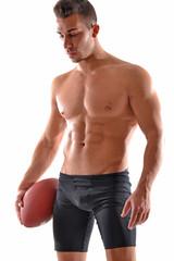 Retrato de un musculoso jugador de rugby. jugador de rugbi.