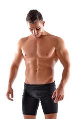 Retrato de un hombre fuerte, atleta deportista.