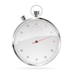 Realistic Classic Stopwatch Isolated on White.